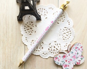 Kitsch Crown Mechanical Lead Pencil Pacer/1PC/White with Pink Dots