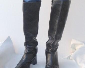 sz 8 M vintage high heel black leather boots