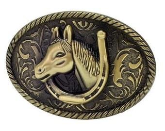 cowgirl belt buckle, rodeo buckle, oval belt buckle, equestrian buckle, horse head buckle, bronze belt buckle, western belt buckle, western