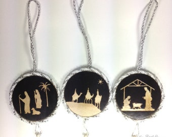 Birth of Jesus Ornaments-Manger-Shepherd-Wise Men-Christian-Religious-Baby Jesus-Mary-Joseph-Bethlehem-Christmas-Lamb-Star-Angel-Relief