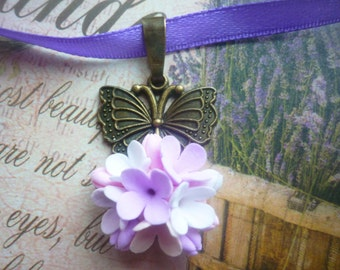 Lilac necklace Flower necklace Butterfly necklace Floral necklace Floral pendant Statement necklace clay flower pendant Butterfly pendant
