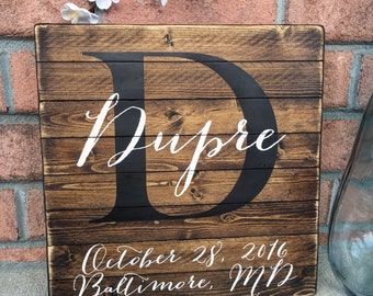 Personalized family name sign, Last name sign, Family sign, Wedding gift, Wedding sign, Monogram sign, established date sign, Wood sign
