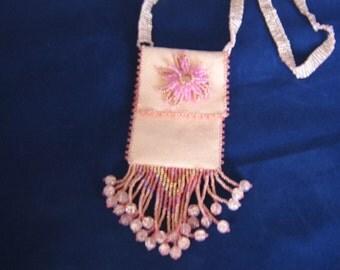 Pink Beaded Amulet Bag
