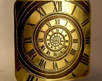 Time machine Time spiral brass belt buckle