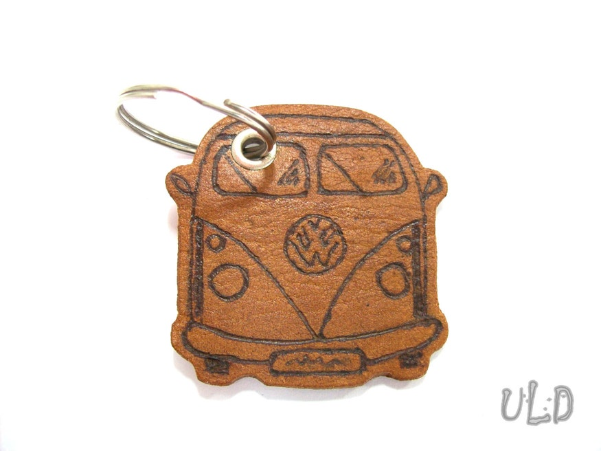 Handmade Leather Volkswagen T1 Keychain