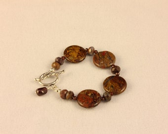 Pietersite Coin Bracelet with Garnet