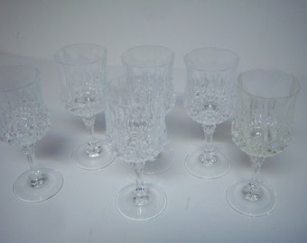 Vintage D'Arques Durand, Longchamp  Lead Crystal,  Six Wine Glasses, Made In France, Very Good Clean Condition