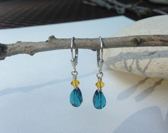 Sunflower & Indicolite Crystal Earrings