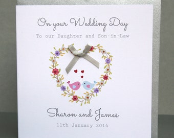 Personalised Wedding Card - Heart Wedding  Names Card - Handmade Wedding Card - Personalised Family Wedding Card