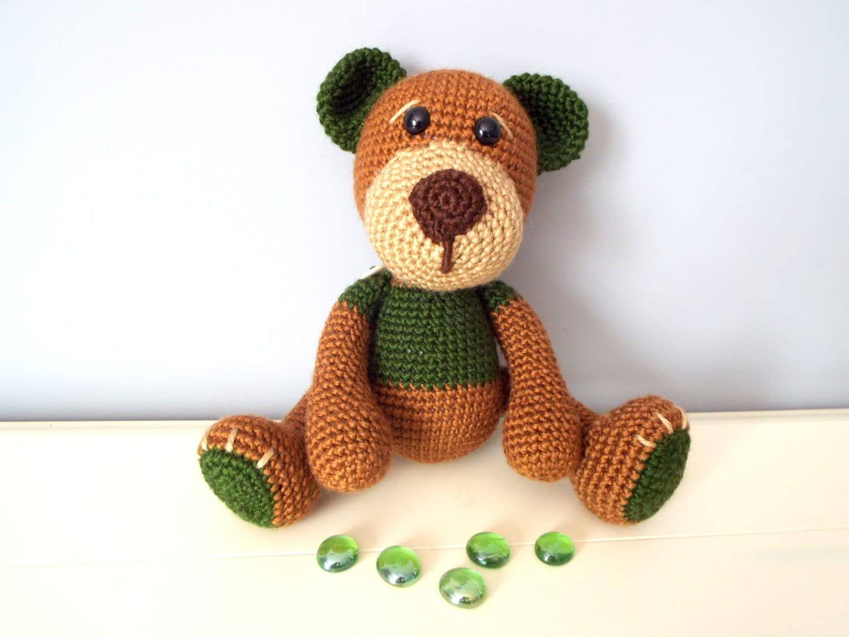 Crochet teddy bear doll green brown classic bear amugurumi for Bear home decorations