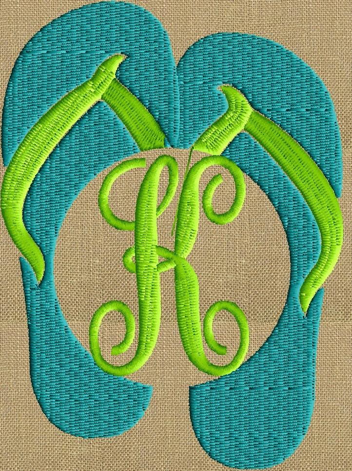 flip flops font frame monogram design font not included