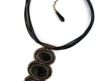 Black Jasper Bead embroidered necklace,Leather and Jasper necklace