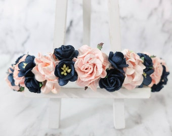 Navy blue and pink flower crown - wedding floral hair wreath - flower headpiece for girls - flower hair accessories