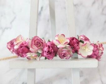 Magenta flower crown - wedding - flower girls - floral hair wreath - headpiece - flower hair accessories - halo