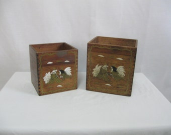 Vintage Set of 2 Wooden Kitchen Canisters No Lids Hand Painted Birds Great for Storage Organization or Plants - See Details