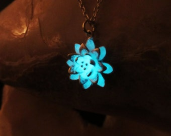 Lotus pendant with sterling silver chain glow in the dark