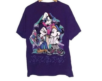 Vintage Mickey Mouse T-shirt Minnie Mouse Goofy Walt Disney color Purple Size Extra Large