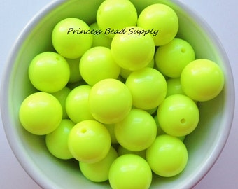 20mm Neon Yellow  Solid Chunky Beads Set of 10, Neon Yellow Beads,  Neon Bubble Gum Beads, Gumball Beads, Acrylic Beads