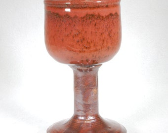 Ruby Red Stoneware Goblet or Chalice with Burnt Sienna Stem