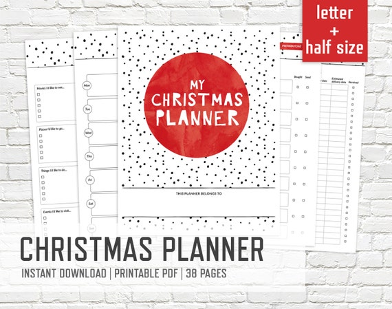 Christmas Planner Letter and Half Size - Printable Binder Inserts Holiday Party Planner Xmas Organizer Editable Binder - INSTANT DOWNLOAD