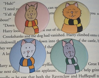 House Cats 4 Pack Buttons or Magnets; Harry Potter Inspired Buttons or Magnets; Hogwarts Houses Buttons or Magnets