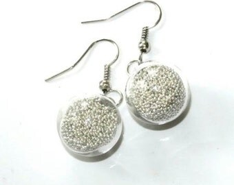 Earrings balls, glass beads silver