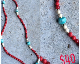 Red, neutral, & turquoise necklace