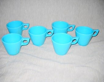 Set of Six Vintage Blue Melmac / Melamine Tea Coffee Cups