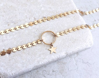 Choker Necklace, Gold Star, Delicate Necklace, Dainty Choker, Star Choker, Layering Choker, Trendy Necklace