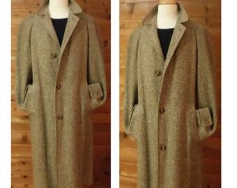 Mens Vintage Overcoat, Long Wool Coat, Vintage Coat, Long Overcoat, Wool Overcoat, Mens Winter Coat / Vintage Mid-Century Overcoat