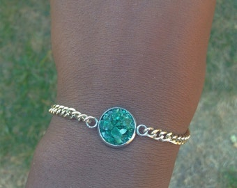 Green crystal bracelet gold bracelet druzy green cluster quartz gold cluster bracelet for her gift birthday cluster bracelet crystal