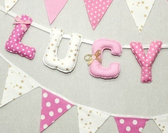 Baby Name Banner, Pink & Gold, Nursery Wall letters, Baby Shower Girl, Fabric Banner, Personalized kids, Birthday Decoration,Blush Pink