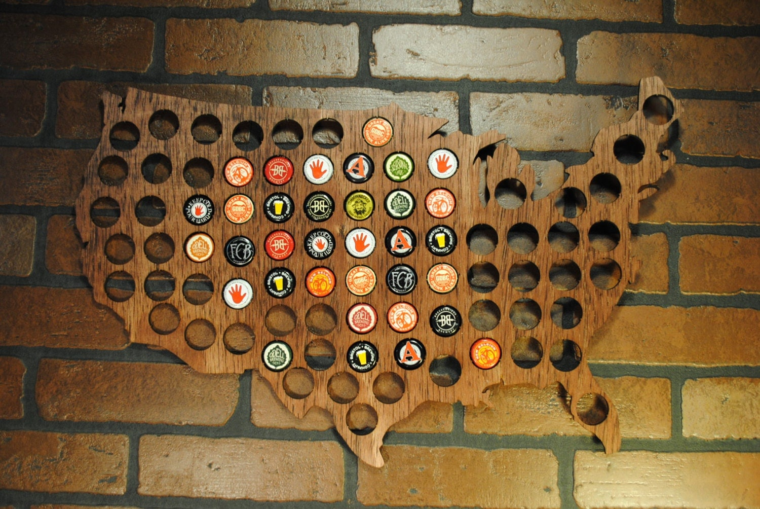 Usa Beer Cap Map Stained Country Outline Walnut By