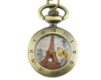 1pcs/ 25mm ,Charm Eiffel Tower pocket watch Necklace Chain,Necklace Pendant,craft supply BM-96