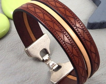 Kit tutorial bracelet leather camel and natural clasp silver plated 7,9 inches