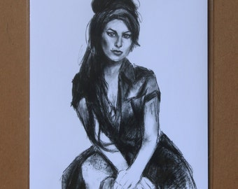 Amy Winehouse Charcoal Drawing, Amy Winehouse Wall Decor, Amy Winehouse Print, Amy Winehouse Wall Art