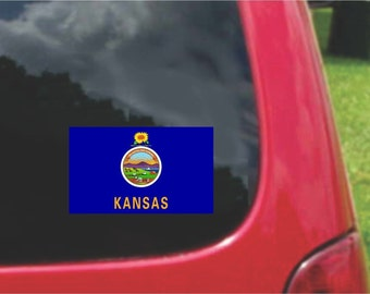 2 Pieces Kansas State Flag Vinyl Decals Stickers Full Color/Weather Proof. U.S.A Free Shipping