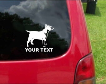 Set (2 Pieces) Bull Terrier Dog  Sticker Decals with custom text 20 Colors To Choose From.  U.S.A Free Shipping