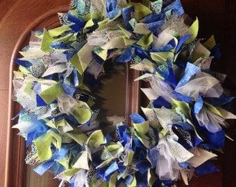 SALE! Handmade Blue/Green Rag Wreath