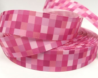 7/8 Inch Shades of Pink Squares - Printed Grosgrain Ribbon for Hair Bow
