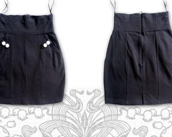 black goth pinup high waist mini skirt