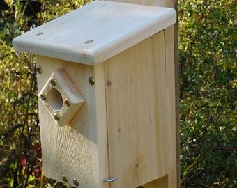 Blue Bird House,Cedar Slant Roof Bird House,Wood Bird House
