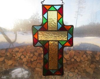 Crusifix Christian Stained Glass Suncatcher