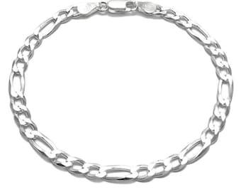 Men's / Ladies' 925 Sterling Silver Figaro Bracelet 150 Gauge 6 mm