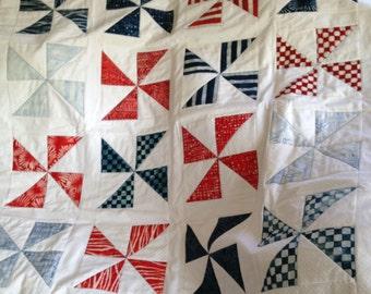 Patriotic Pinwheel Quilt Red White & Blue REDUCED