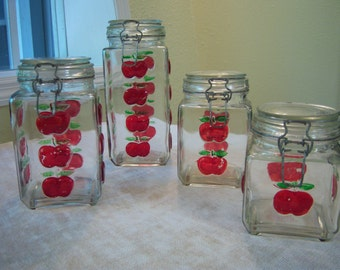 Glass four piece canister set/Canisters with hinged lids/Painted apple motif canisters/Farm house/Rustic/Primitive decor/Organization
