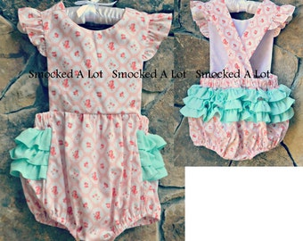 Girls Vintage Floral Ruffle Butt Bubble- Pink Rose Fabric.  by Smocked A Lot