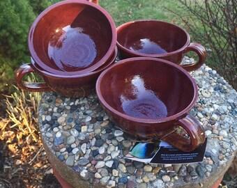 Set of 4 wheel thrown bowls