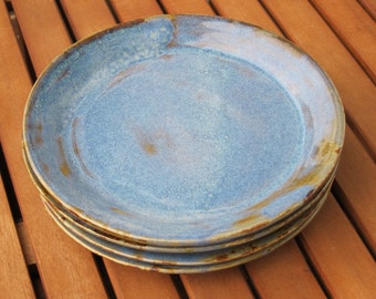Lot of 4 plates blue and Brown sandstone