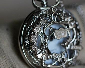 Alice in Wonderland pocket watch necklace W4